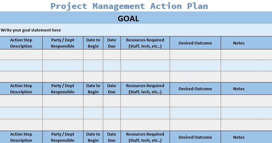Project Management Action Plan Template Excelonist