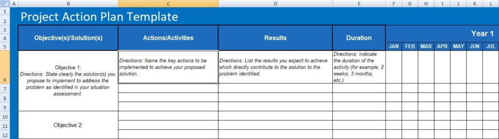 Project management action plan template