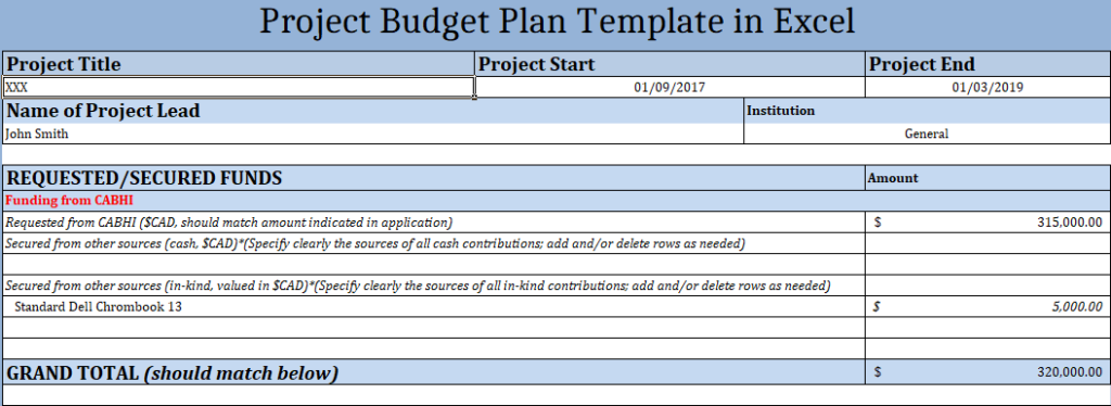Project Budget Plan Template in Excel