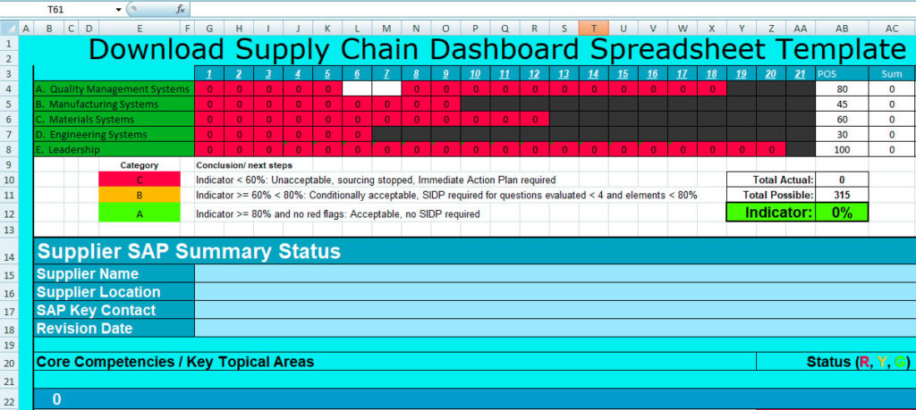 supply chain management template excel