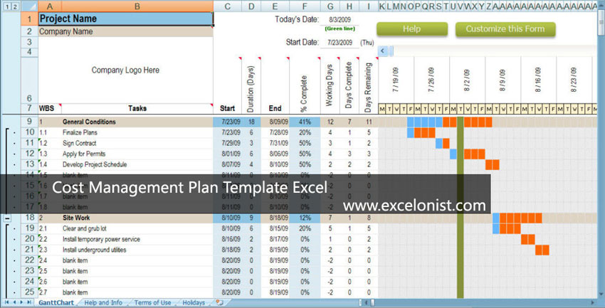 Cost Management Plan Template Excel