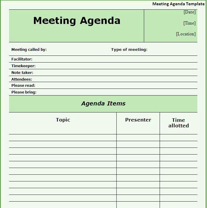 Free Meeting Agenda Template Word