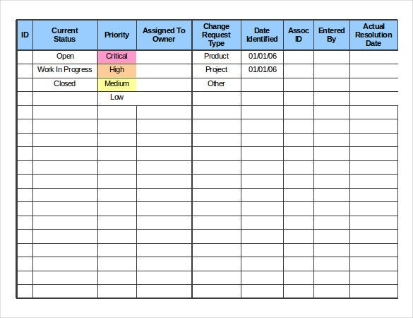 Project Change Log Template