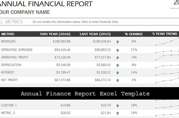 Financial Report Template Excel