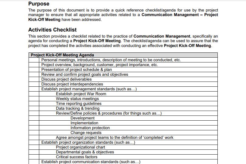 Project Kickoff Checklist Excel